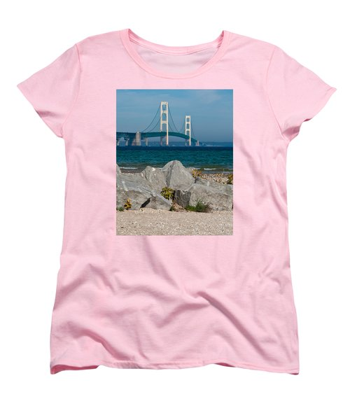 Mackinac Bridge Women's T-Shirt (Standard Cut) by Larry Carr