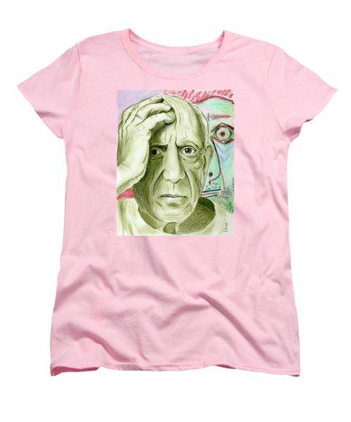 Women's T-Shirt (Standard Cut) featuring the drawing Pablo Piccaso by Yoshiko Mishina