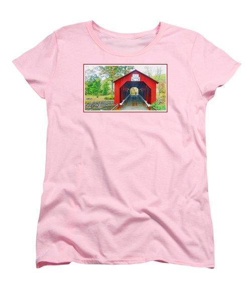 Parr's Mill Covered Bridge, Columbia County, Pennsylvania Women's T-Shirt (Standard Cut) by A Gurmankin