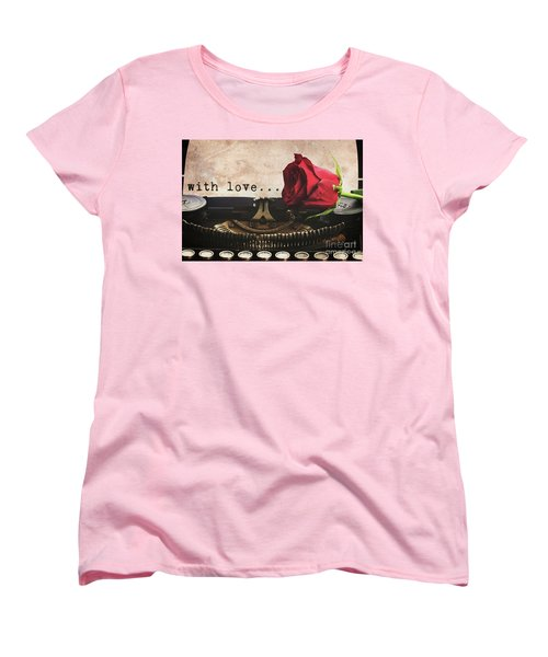 Red Rose On Typewriter Women's T-Shirt (Standard Cut) by Anastasy Yarmolovich