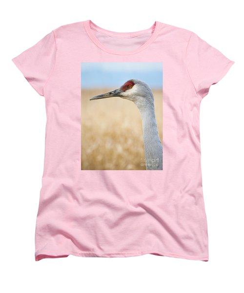 Sandhill Crane Women's T-Shirt (Standard Cut) by Chris Dutton