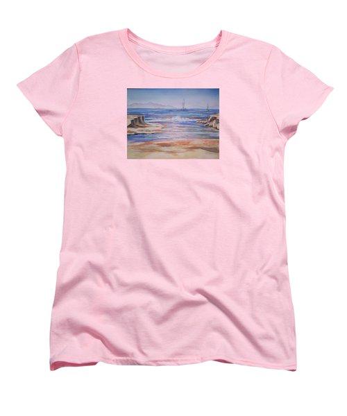 Santa Cruz Women's T-Shirt (Standard Cut) by Becky Chappell