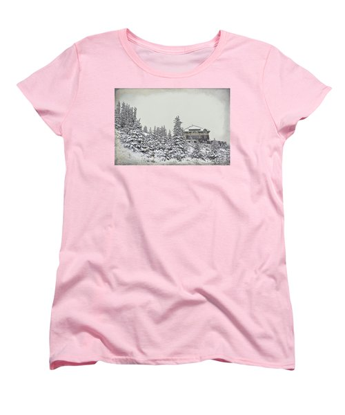 Women's T-Shirt (Standard Cut) featuring the photograph Snow In July by Teresa Zieba