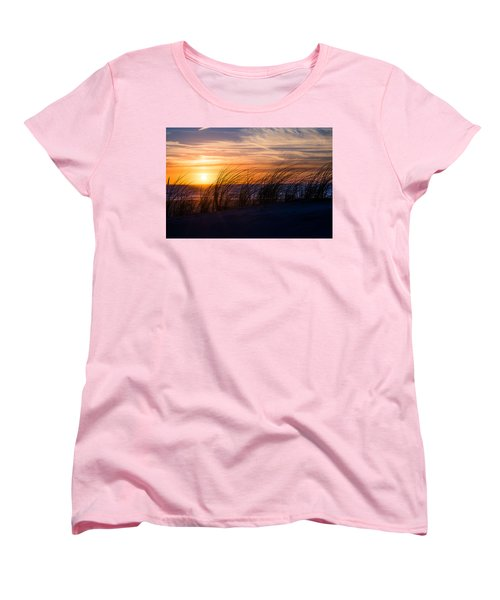 Women's T-Shirt (Standard Cut) featuring the photograph sunset at the North Sea by Hannes Cmarits