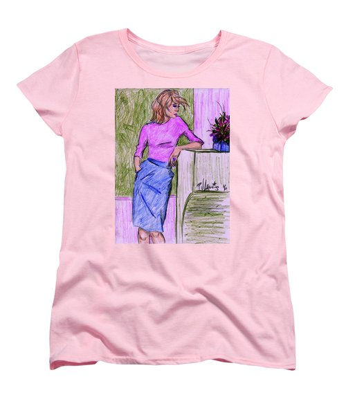 Women's T-Shirt (Standard Cut) featuring the drawing Waiting by P J Lewis