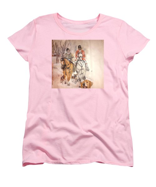 Women's T-Shirt (Standard Cut) featuring the painting Talley Ho  Album by Debbi Saccomanno Chan