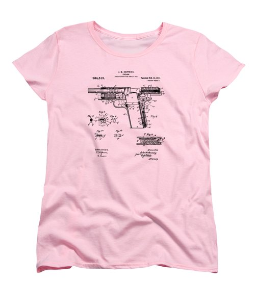 Women's T-Shirt (Standard Cut) featuring the drawing 1911 Colt 45 Browning Firearm Patent 2 Artwork Vintage by Nikki Marie Smith