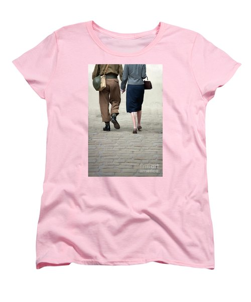 1940s Couple Soldier And Civilian Holding Hands Women's T-Shirt (Standard Cut) by Lee Avison