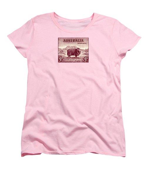 1946 Australian Merino Sheep Stamp Women's T-Shirt (Standard Cut) by Historic Image