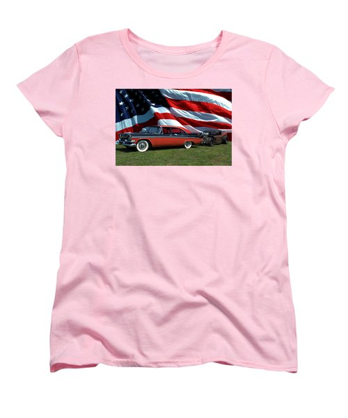 1958 Dodge Coronet And 1935 International Dragster Women's T-Shirt (Standard Cut) by Tim McCullough