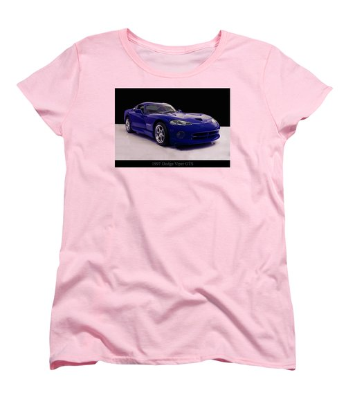 Women's T-Shirt (Standard Cut) featuring the digital art 1997 Dodge Viper Gts Blue by Chris Flees