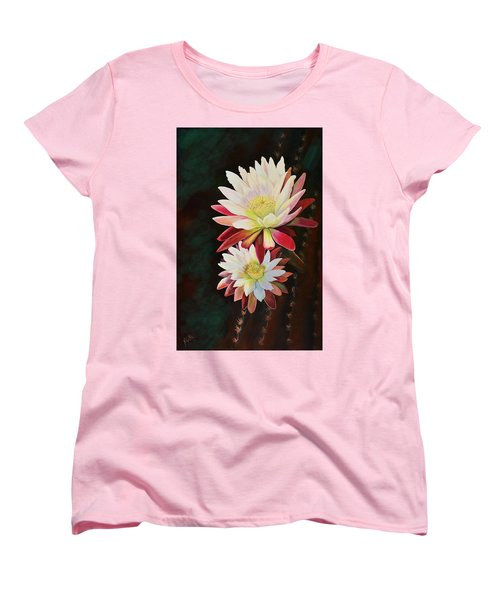 Women's T-Shirt (Standard Cut) featuring the painting Cereus Business by Marilyn Smith