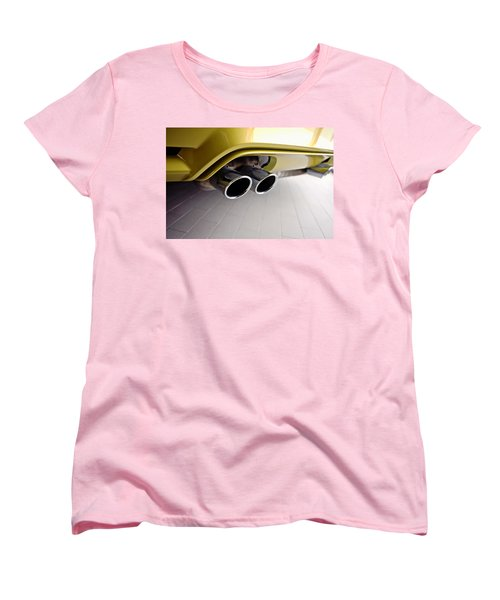 Women's T-Shirt (Standard Cut) featuring the photograph 2015 Bmw M4 Exhaust by Aaron Berg