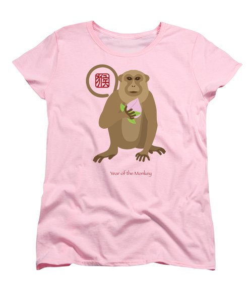 2016 Chinese Year Of The Monkey With Peach Women's T-Shirt (Standard Cut) by Jit Lim