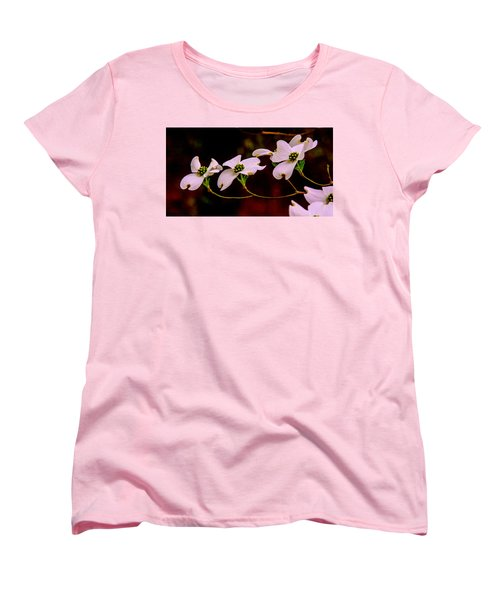 3 Dogwood Blooms On A Branch Women's T-Shirt (Standard Cut) by John Harding