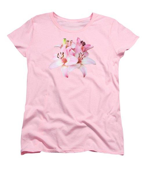 Spray Of Pink Lilies Women's T-Shirt (Standard Cut) by Jane McIlroy