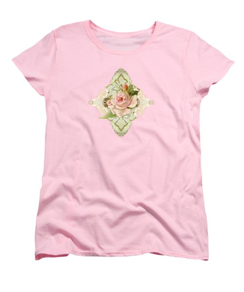 Summer At The Cottage - Vintage Style Damask Roses Women's T-Shirt (Standard Cut) by Audrey Jeanne Roberts