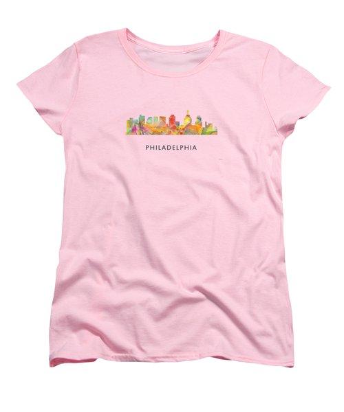 Philadelphia Pennsylvania Skyline Women's T-Shirt (Standard Cut) by Marlene Watson