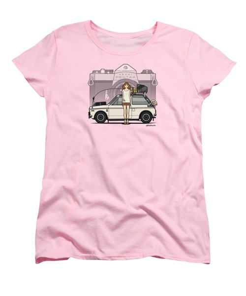 Honda N600 Rally Kei Car With Japanese 60's Asahi Pentax Commercial Girl Women's T-Shirt (Standard Cut) by Monkey Crisis On Mars
