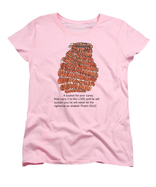 A Basket For Your Cares Psalm 55 Verse 22 Women's T-Shirt (Standard Cut) by Kathleen McElwaine