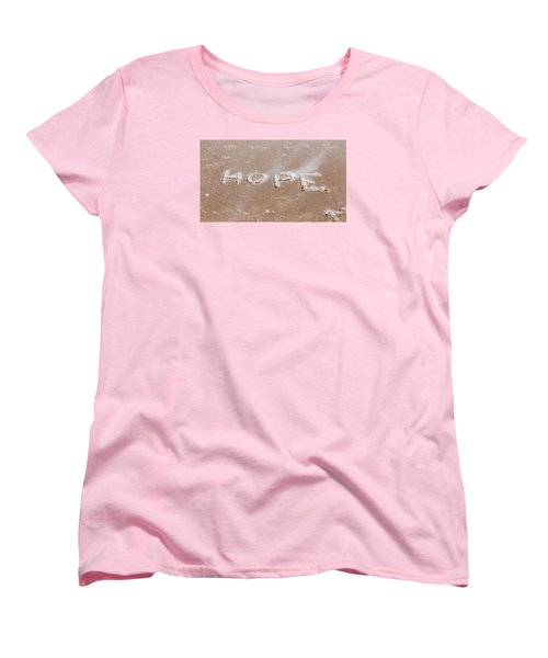 Women's T-Shirt (Standard Cut) featuring the photograph A Message On The Beach by John M Bailey