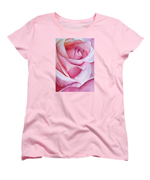 Women's T-Shirt (Standard Cut) featuring the painting A Rose For You by Allison Ashton