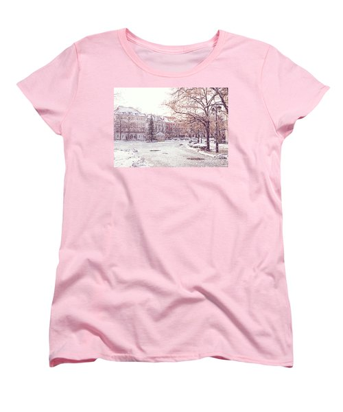 Women's T-Shirt (Standard Cut) featuring the photograph A Street In Warsaw, Poland On A Snowy Day by Juli Scalzi