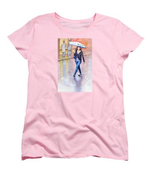 A Walk In The Rain Women's T-Shirt (Standard Cut) by Bonnie Rinier