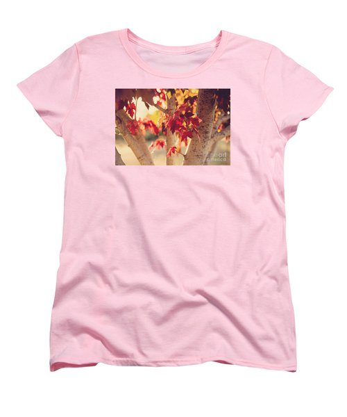 Women's T-Shirt (Standard Cut) featuring the photograph A Warm Red Autumn by Linda Lees