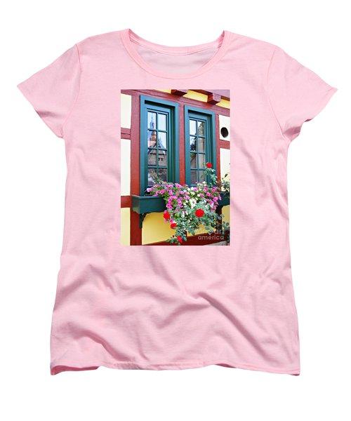 A Window In Eltville  2 Women's T-Shirt (Standard Cut) by Sarah Loft
