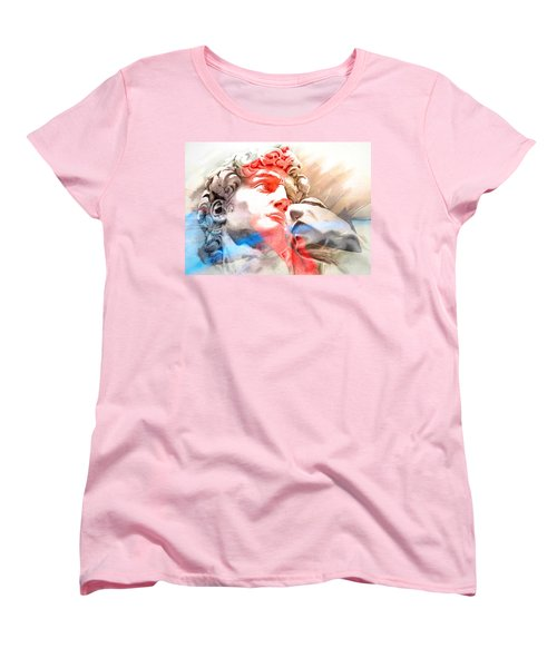 Women's T-Shirt (Standard Cut) featuring the painting Abstract David Michelangelo 2 by J- J- Espinoza