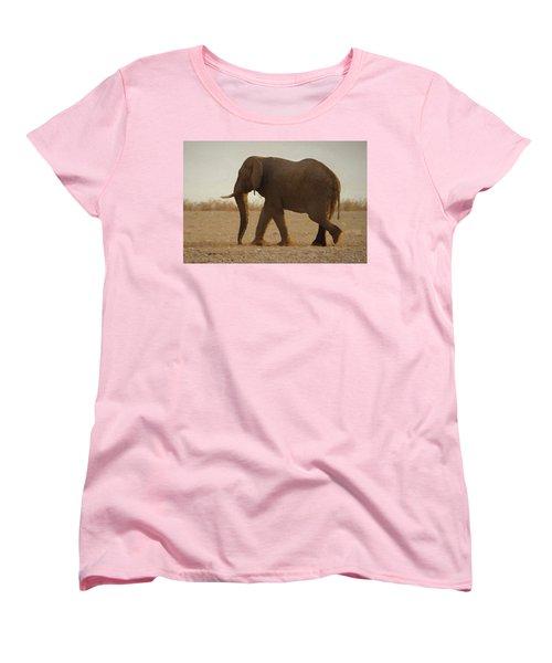 Women's T-Shirt (Standard Cut) featuring the digital art African Elephant Walk by Ernie Echols