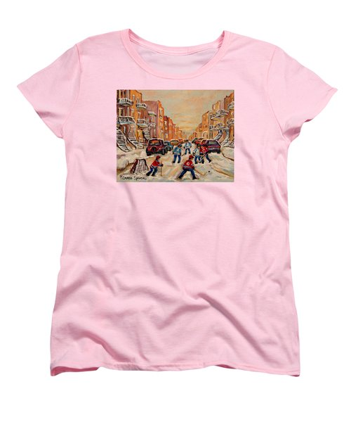 After School Hockey Game Women's T-Shirt (Standard Cut) by Carole Spandau
