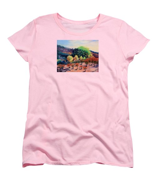Women's T-Shirt (Standard Cut) featuring the painting Along The Highway by Marcia Dutton