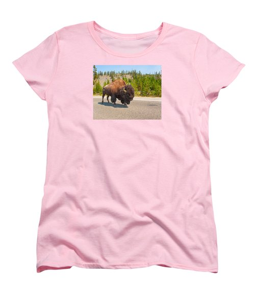 American Bison Sharing The Road In Yellowstone Women's T-Shirt (Standard Cut) by John M Bailey