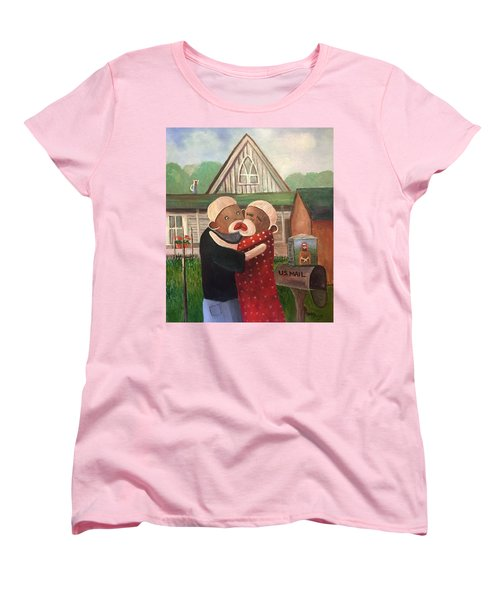 American Gothic The Monkey Lisa And The Holler Women's T-Shirt (Standard Cut)