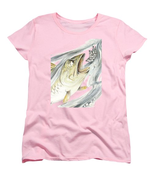 Angry Fish Ready To Swallow Tin Soldier's Paper Boat - Horizontal - Fairy Tale Illustration Fragment Women's T-Shirt (Standard Cut) by Elena Abdulaeva