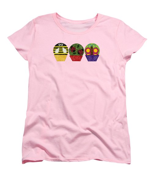 Animal Cupcakes 1 Women's T-Shirt (Standard Cut) by Emily Kim