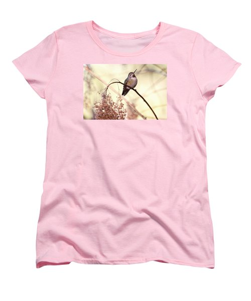 Anna's Hummingbird Closeup Women's T-Shirt (Standard Cut) by Peggy Collins