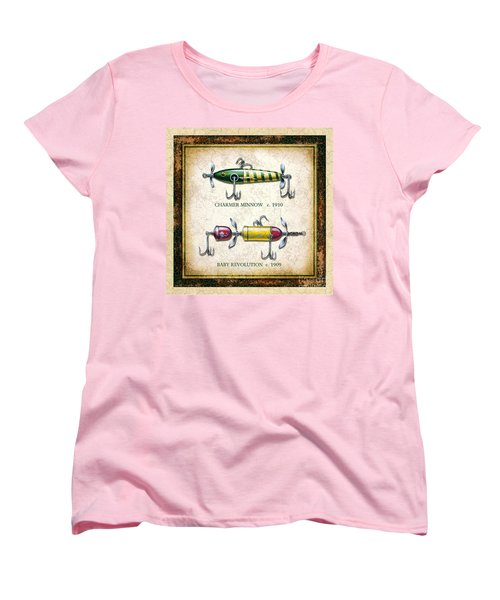 Women's T-Shirt (Standard Cut) featuring the painting Antique Lure Panel One by JQ Licensing Jon Q Wright
