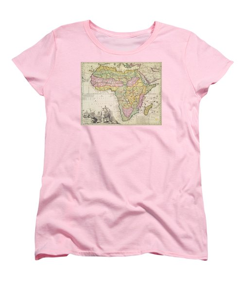 Antique Map Of Africa Women's T-Shirt (Standard Cut) by Pieter Schenk