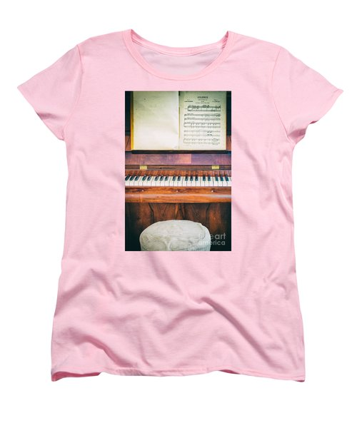 Women's T-Shirt (Standard Cut) featuring the photograph Antique Piano And Music Sheet by Silvia Ganora
