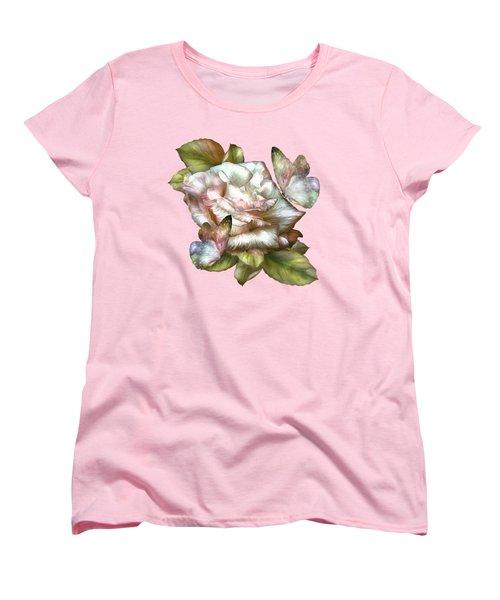 Antique Rose And Butterflies Women's T-Shirt (Standard Cut) by Carol Cavalaris