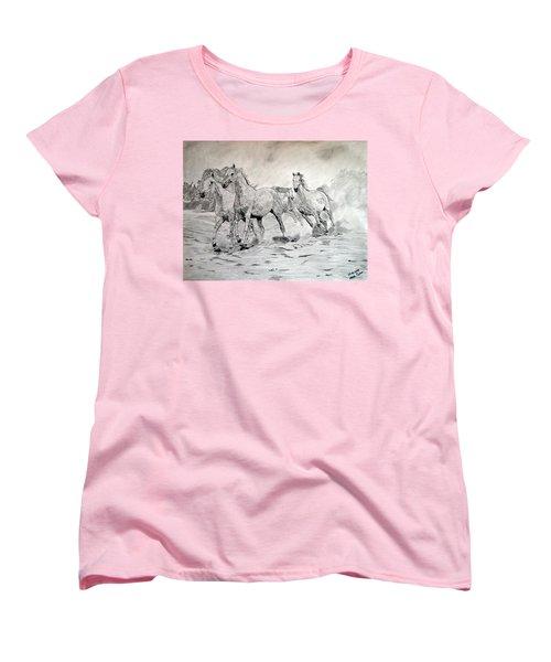 Women's T-Shirt (Standard Cut) featuring the drawing Arabian Horses by Melita Safran