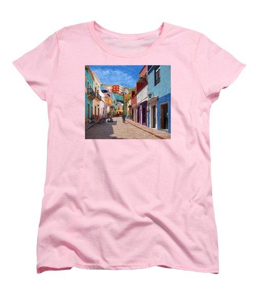 Women's T-Shirt (Standard Cut) featuring the photograph Art Students Drawing A Street In Guanajuato by John Kolenberg