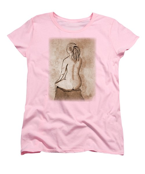 Women's T-Shirt (Standard Cut) featuring the drawing Life Drawing 1 by Linda Lees