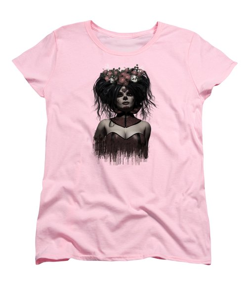 Women's T-Shirt (Standard Cut) featuring the digital art La Catrina by Shanina Conway