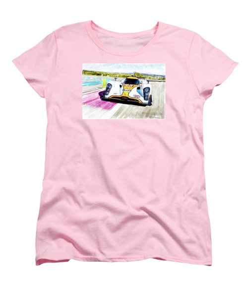 Women's T-Shirt (Standard Cut) featuring the painting Aston Martin Vantage 009 by Michael Cleere