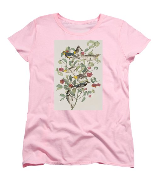 Audubons Warbler Hermit Warbler Black-throated Gray Warbler Women's T-Shirt (Standard Cut) by John James Audubon