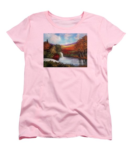 Women's T-Shirt (Standard Cut) featuring the painting Autumn In The Garden Of Eden by Randol Burns
